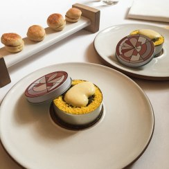 An upscale reinvention of classic Eggs Benedict made with caviar, cauliflower and ham. The house made English muffins was a lovely accompaniment.